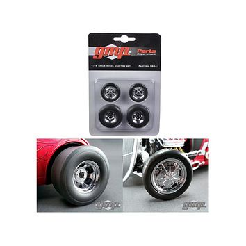 Chromed Hot Rod Drag Wheels and Tires Set of 4 1:18 by GMP