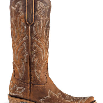Lane Women's Saratoga Tan Cowgirl Boots - Snip Toe