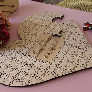 Wedding Guest Book Custom Personalized Puzzle Heart Shaped  Alternative Hanging Heart Puzzle-jigsaw heart puzzle guestbook-wedding guestbook