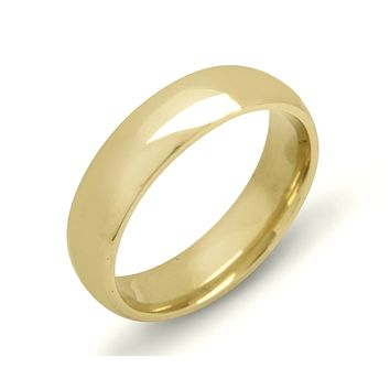 Comfort Fit 6.1 mm Wide Quality SOLID Yellow Gold 14k Men's Band Ring