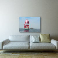 Sail Boat II Printed on Canvas & Mirror Wrapped over 1 1/2 -inch Stretcher Bars