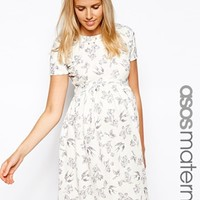 ASOS Maternity Skater Dress With Textured Bird Print - Bird print