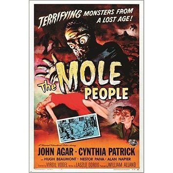 THE MOLE PEOPLE vintage HORROR movie poster MONSTERS dame in distress 24X36