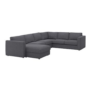 VIMLE Corner sofa, 5-seat With chaise longue/gunnared medium grey - IKEA