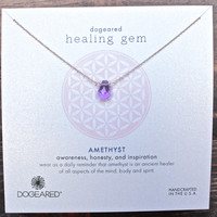 dogeared healing gem amethyst necklace, gold dipped