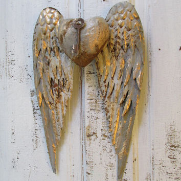 Gray white metal wings wall sculpture with heart French inspired rusted hints of gold home decor Anita Spero