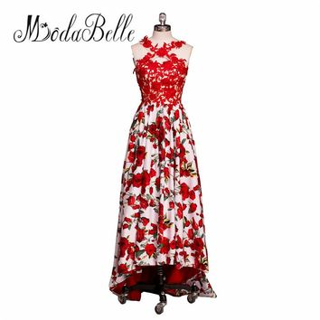 modabelle Lace Floral Printed Red Prom Dress 2017 High Low Vestido Longo Formal Flower Evening Gown Short Front Long Back