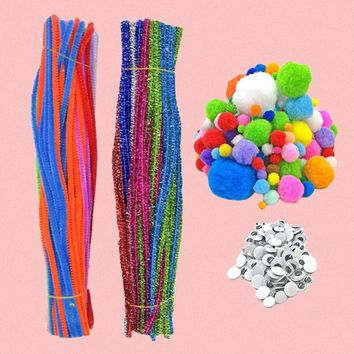550 PCS Kids DIY Craft Supplies Kit Chenille Stems Pipe Wiggle Googly Eyes Pom Poms for Do-It-Yourself Craft Decorations