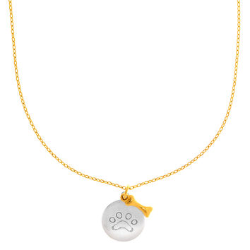 14K White Gold Round Paw Charm And Yellow Gold Dog Bone Pendant On 17 Inch Necklace