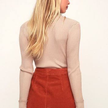 Hippy Hippy Shake Rust Orange Corduroy Mini Skirt