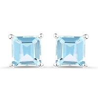Natural 2.5CT Princess Cut Blue Topaz Stud Earrings