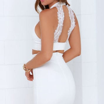 Chic My Interest Ivory Lace Two-Piece Dress