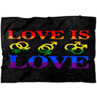 LGBT Gay Pride Fleece Blanket Love Is Love