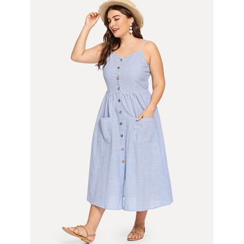 Plus Button Up Pocket Front Pinstripe Cami Dress Blue