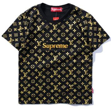ONETOW Supreme x LV Fashion Print Embroider Short Sleeve Tunic Shirt Top Blouse