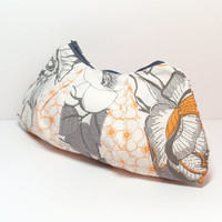 Cosmetic Bag - Orange Gray - Floral - Makeup Bag - Zipper Pouch - Toiletry Bag - Quilted Bag