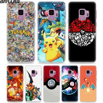 BiNFUL cute Pokemons Pokeball style White hard Phone Case Cover for Samsung Galaxy S9 S9Plus S8 Plus S6 S7 edge Note 8 5