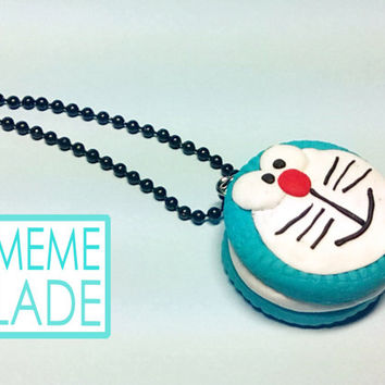 Doraemon Kawaii cake Oreo Necklace Cookie Food Pendant Sweet Manga Anime Polymerclay Blue Food pendant necklace Jewelry