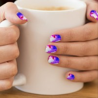Pink Yellow Blue Ink Drop Photography Nail Art