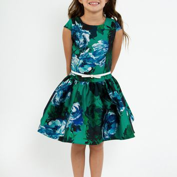 Girls Green Floral Print Mikado Dress with Low Waist 4-14