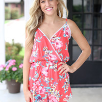 Straight Answer Romper - Coral