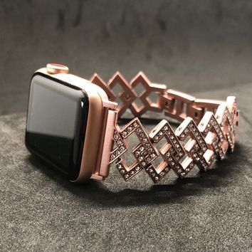 Apple Watch Band Womens Mens Rose Gold Art Deco 38mm/40mm 42mm/44mm Series 1 2 3 4 Rhinestone Crystals Stainless Steel Iwatch Bling