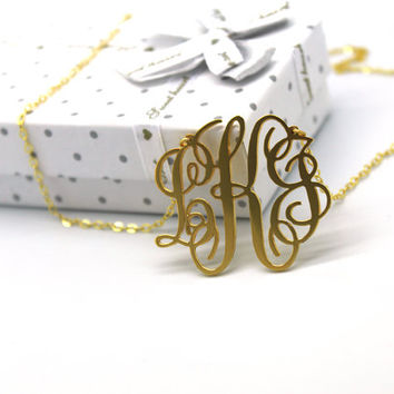 Monogram Necklace - 1 1/2 '' Inch Three Initials Personalized 3 Letters Monogrammed Pendant 18k Yellow Gold Plated On Silver 2 Loops