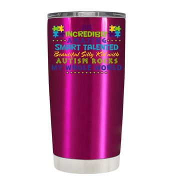 TREK An Amazing Smart Talented Kid with Autism on Translucent Pink 20 oz Tumbler Cup