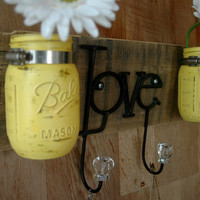 Yellow Love board with hooks and mason jars wall decor