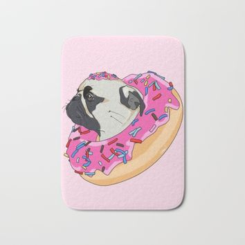 Pug Donut Strawberry Profile Bath Mat by lostanaw