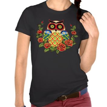 Owl and Roses Mexican style T-shirts