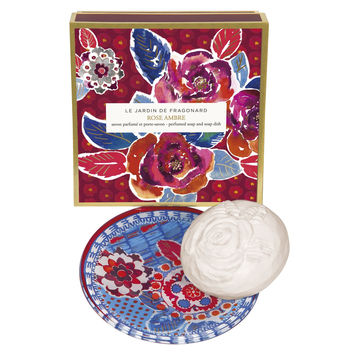 Fragonard, JARDIN DE FRAGONARD, ROSE AMBRE (Rose Amber), Perfumed Soap & Dish Set, 150 g (5.29 oz)