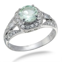 7MM Round Cut Natural Green Amethyst Engagement Ring In Sterling Silver 1.50 CT (Available In Sizes
