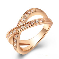 Rose Gold Plated Rhinestone Crystal Ring Women's Wedding Love Promise Jewelry