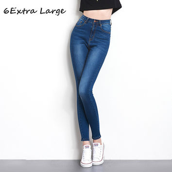 6EXTRA LARGE Autumn Fashion L- 6XL High Waist Jeans High Elastic Women Jeans Woman Femme Washed Casual Skinny pencil Denim Pants