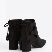 Black Side Cut Out Block Heel Bootie By Hot Kiss | Booties | rue21