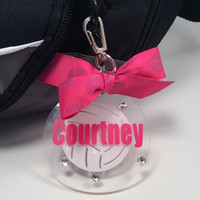 Volleyball Bag Tag in Pink Sparkle Dot