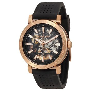 Michael Kors Halo Skeleton Dial Automatic Mens Rubber Watch MK9033