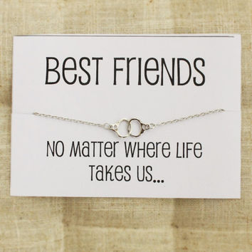 Best Friends no Matter where life take Us Card Gift Bangle Charm Fashion Woman Bracelet