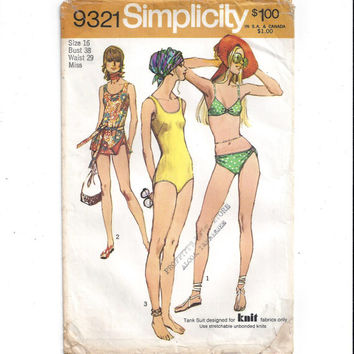 Simplicity 9321 Pattern for Misses' Set of Bathing or Swim Suits, Size 16, From 1971, Bikini, 1 Piece, Vintage Pattern, Home Sewing Pattern