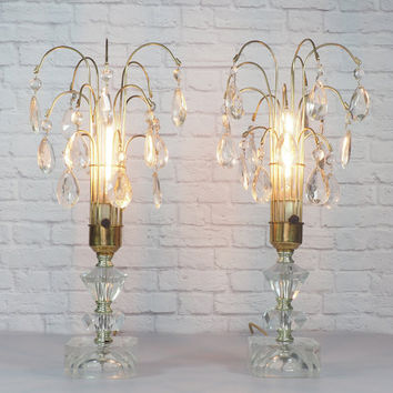 PAIR Hollywood Regency Waterfall Lamps, Brass and Crystal Prisms, Elegant Boudoir Lamps