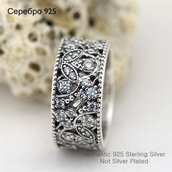 Compatible with Pandora Jewelry Clear CZ Shimmering Leaves Silver Ring 100% 925 Sterli