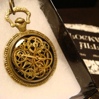 Steampunk Clockwork Pocket Watch Pendant Necklace with Upcycled Watch Parts and Tiny Gears (1695)