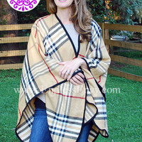 Plaid Poncho Tan Black