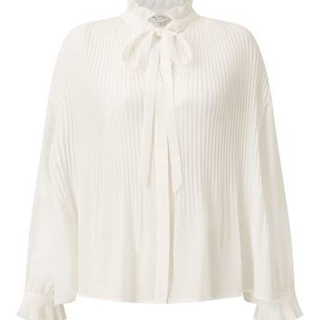 PREMIUM Ivory Pleated Blouse - Tops - Apparel