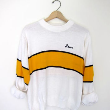 Vintage white & yellow striped sweater. Iowa Hawkeyes College Sweater. Sports pullover sweater. Boyfriend Fall Sweater. M L