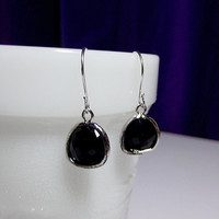 Jet Black Faceted Glass Drop Earrings, Christmas Bridesmaid Mom Sister Girlfriend Jewelry Gift, Silver, Pretty, Cocktail