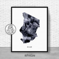 Chad Print, Watercolor Map, Chad Map Print, Office Wall Decor, Office Wall Art, Living Room Art, Map Decor, Map Wall Art Print Zone