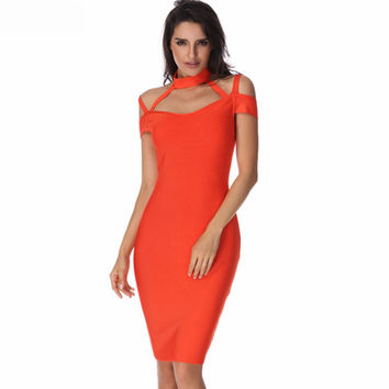 Hot Orange Choker Bandage Dress