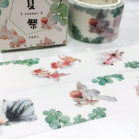 Gold fish washi tape 7M x 3cm fish art Goldfish red fish deco masking tape watercolor fish super wide tape sticker tape scrapbook diary gift
